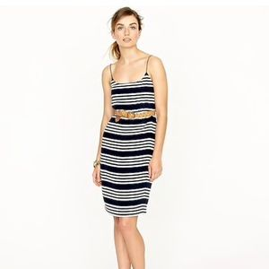 J. Crew Silk Blouson Dress in Stripe